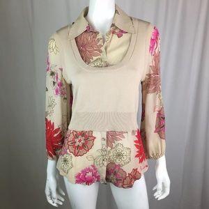 Bebe Beige Floral Sweater Vest Button Up Silk